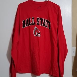 NWOT XL Red/Navy Long-Sleeve Ball State Tee
